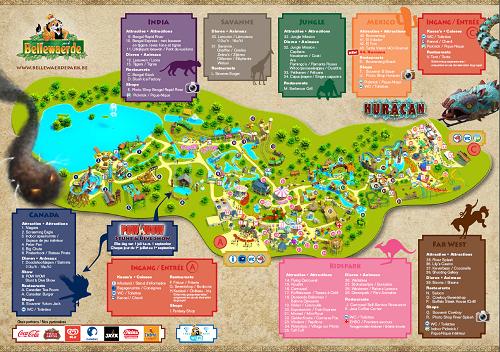 Bellewaerde plattegrond dierentuin